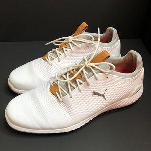 Men's White Leather Puma Ignite Golf Shoes 11M